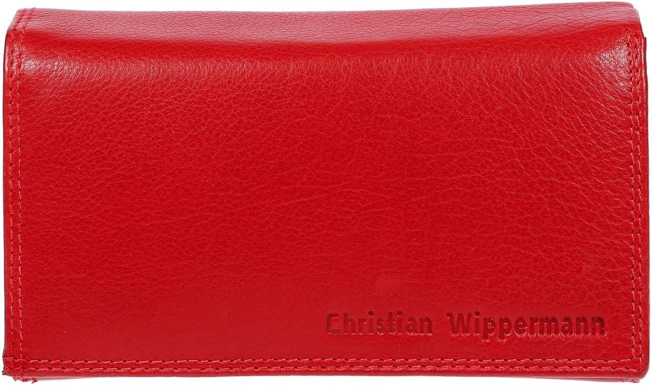 Christian Wippermann - Cartera de cuero para mujer con protección RFID y certificación TÜV –Incluye caja de regalo. Rojo rojo 15,5 x 9,5 x 4,0 cm