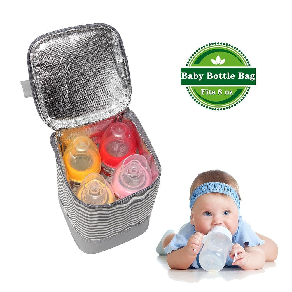 Aolvo Insulated Breastmilk Cooler Bag, Baby Bottle Cooler Tote Insulated Lunch Bag Men and Women Fashion Print Leakproof For Travel or Work (Fits Up to Most Large 8Oz. Bottles),Gray Ripple