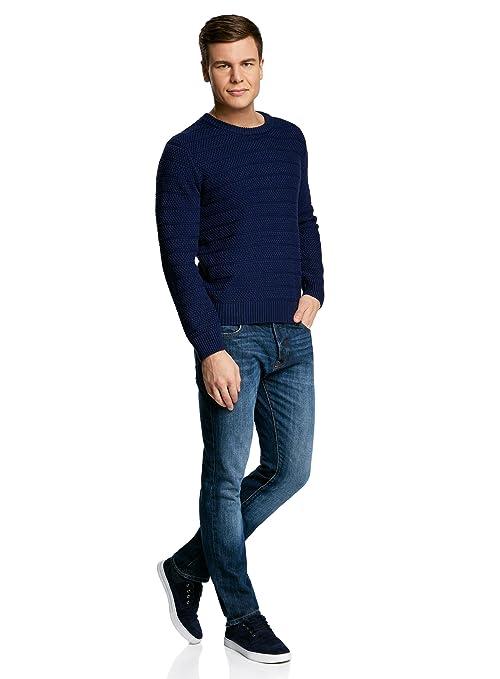 oodji Ultra Hombre Jersey de Punto Texturizado con Cuello Redondo: Amazon.es: Ropa y accesorios