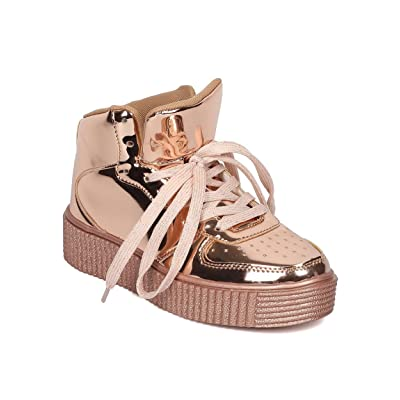 Women Mirror Metallic Sneaker - High Top Sneaker - Creeper Flatform Sneaker - HK17 By Cape Robbin