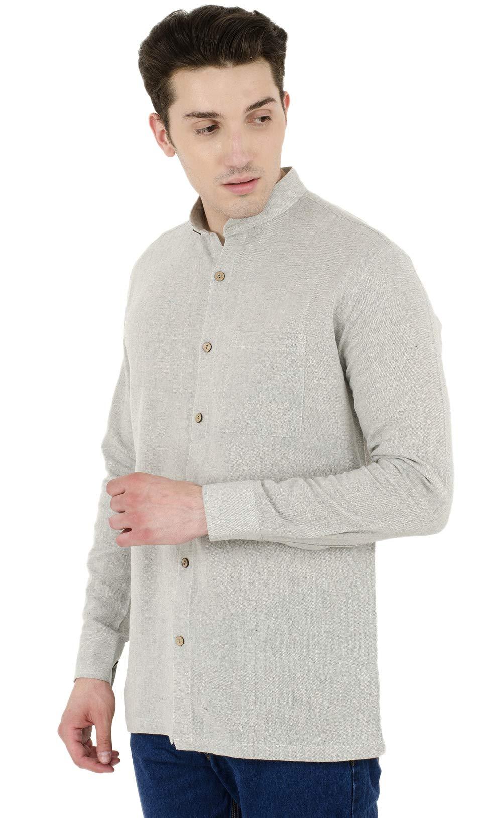 SKAVIJ Button Down Shirts for Men Cotton Long Sleeve Casual Shirts Regular Fit Grey by SKAVIJ (Image #4)