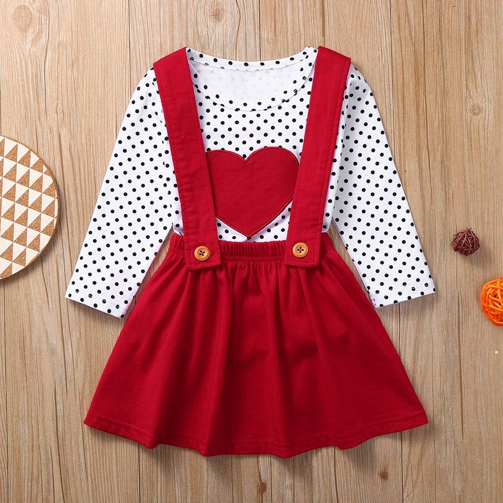 Mousmile Toddler Girl Dresses Skirt Set Lovely Outfits Heart Print Dot Long Sleeve T Shirt+Suspender Pleat A-Line Skirt