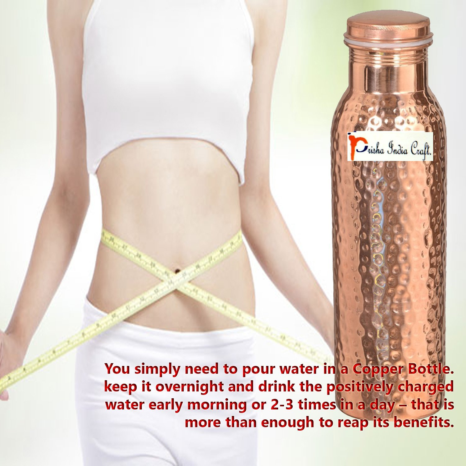 900ml / 30oz – Set of 10 - Prisha India Craft Pure Copper Water Bottle Ayurveda Health Benefits - Best Quality Water Bottles Joint Free, Handmade Christmas Gift by Prisha India Craft (Image #4)