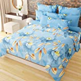Home Candy Vivid 152 TC 3-D Double Bedsheet with 2 Pillow Covers - Floral, Multicolour