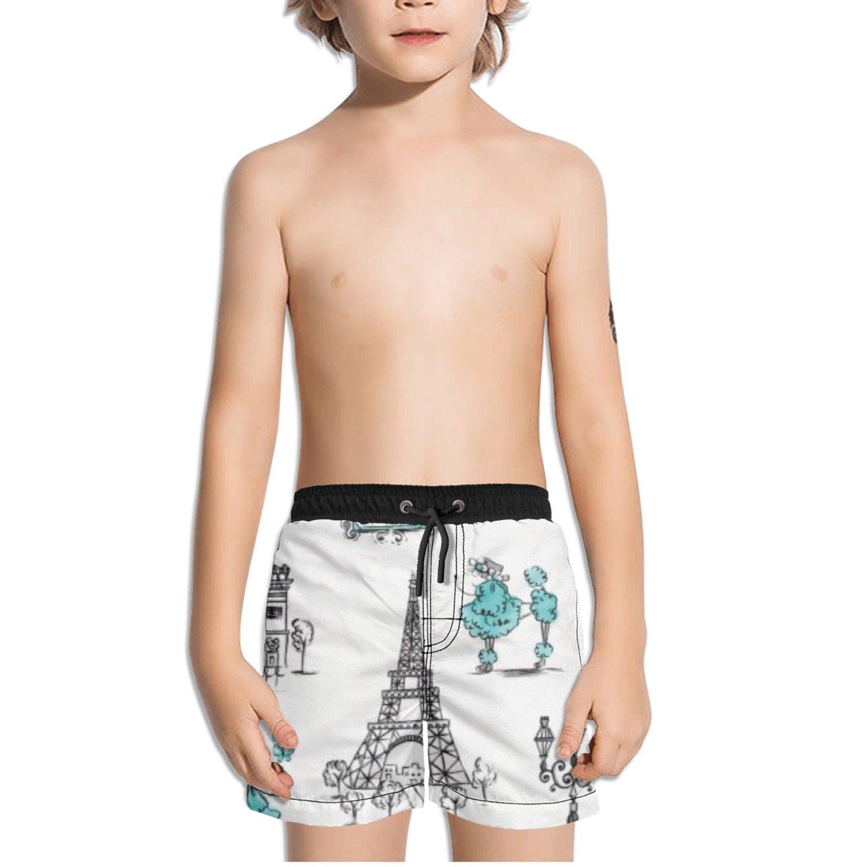 Ouxioaz Boys' Swim Trunk France Paris Eiffel Tower Beach Board Shorts