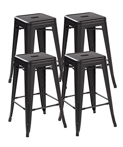 Superb Eurosports Tolix Style Chair Es 3001 Mb 4 Backless Metal Bar Stools Chair 26 Inches Matt Black Set Of 4 Unemploymentrelief Wooden Chair Designs For Living Room Unemploymentrelieforg