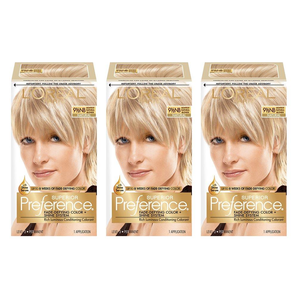 L'Oréal Paris Superior Preference Fade-Defying + Shine Permanent Hair Color, 9.5N Lightest Natural Blonde, 3 COUNT Hair Dye by L'Oreal Paris