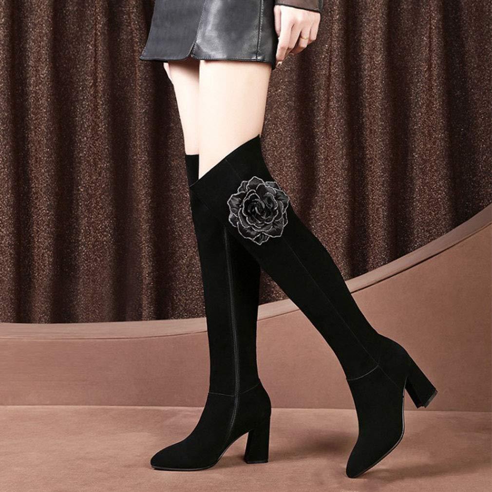 Hy Damenschuhe Herbst Winter-Leder-Starke Ferse-Lange Stiefel Damen-Mode-hohe Damen-Mode-hohe Damen-Mode-hohe Stiefel knielange Ritter-Stiefel Büro u. Karriere-Partei u (Farbe   Schwarz Größe   36) 026a32