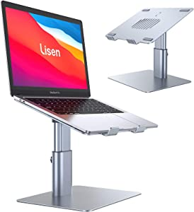 Laptop Stand for Desk, Height Angle Adjustable Laptop Notebook Stand Holder, Lisen Aluminum Laptop Riser Stand for Desk, Compatible with MacBook Air Pro, Dell XPS, HP, Surface Pro, More Notebooks