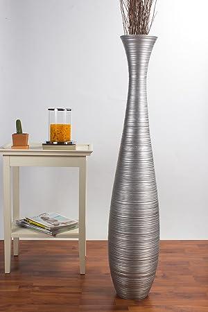 Leewadee Tall Floor Vase 112 Cm Mango Wood Silver Coloured Amazon