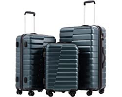 COOLIFE Luggage Expandable(only 28'') Suitcase PC + ABS TSA Lock Spinner Carry on new fashion design (Teal blue, 3 piece set)