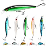 Fishing Lures Kit Minnow Lures Minnow Crank Bait Fishing Tackle Topwater Baits for Bass Trout Saltwater/Freshwater, 10pcs