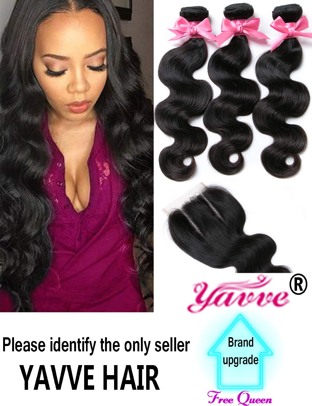 Amazon Brazilian Virgin Hair 3 Bundles With Closure Brazilian