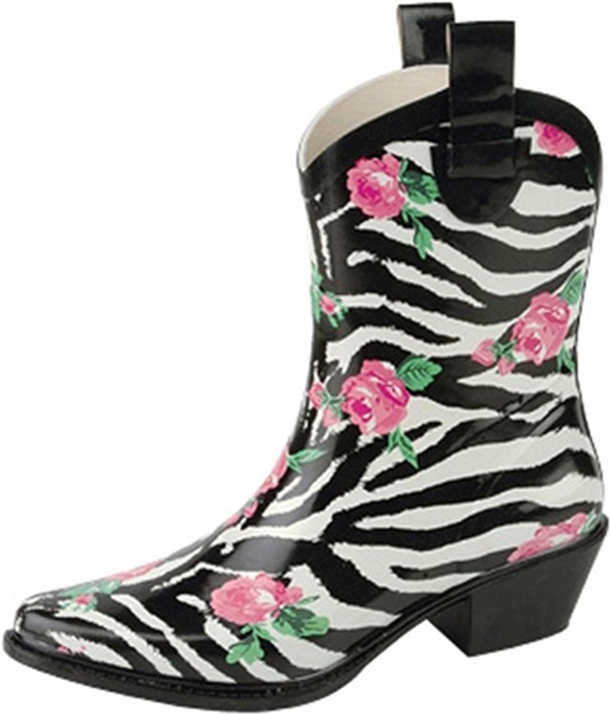 Nature Breeze Women's Cb Rain-21 Ankle Rose Prints Rain Boots Fashion Shoes