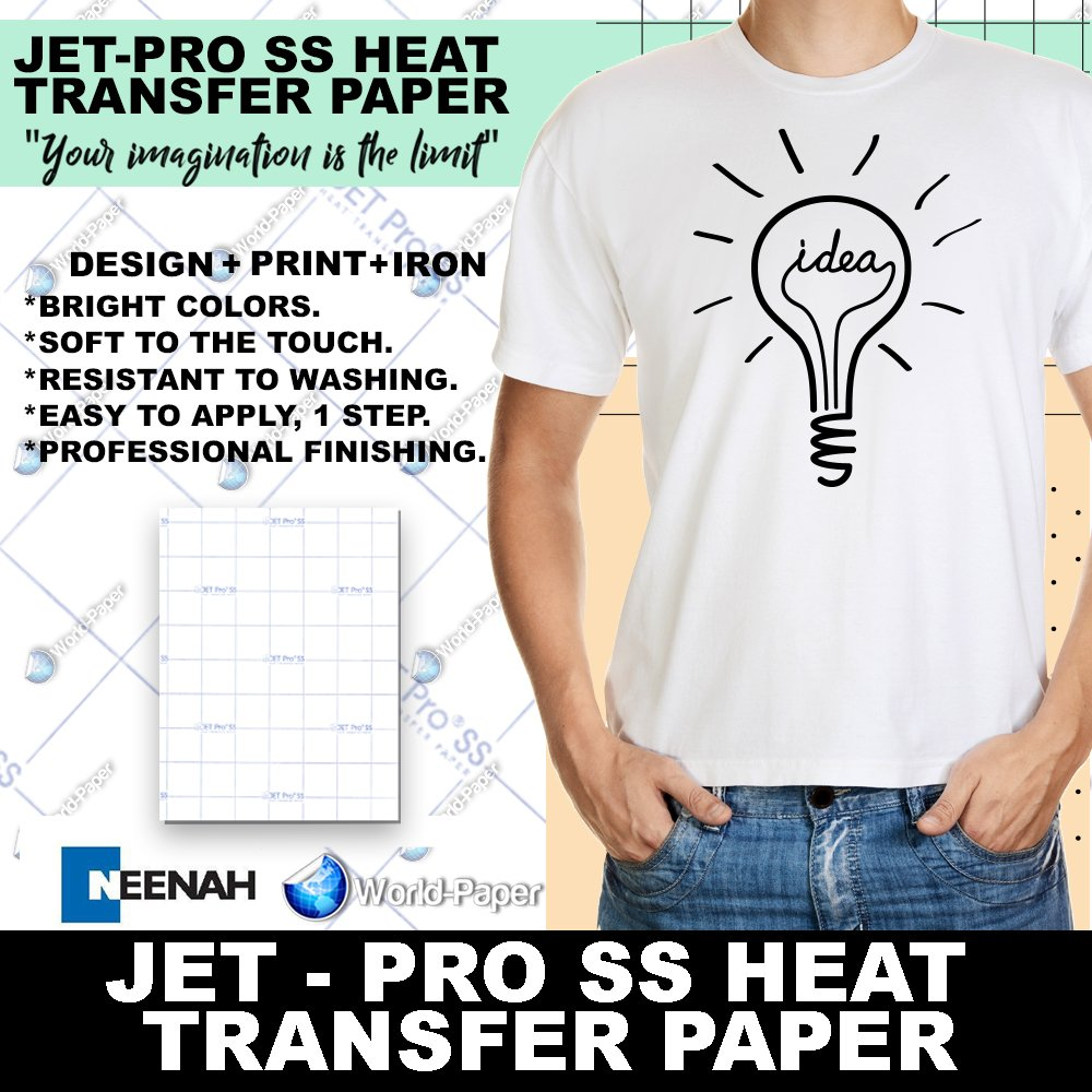 INKJET TRANSFER FOR WHITE FABRIC: IRON-ON ''JET PRO SOFT STRETCH'' (8.5''X11'') 200Pk :) by Neenah