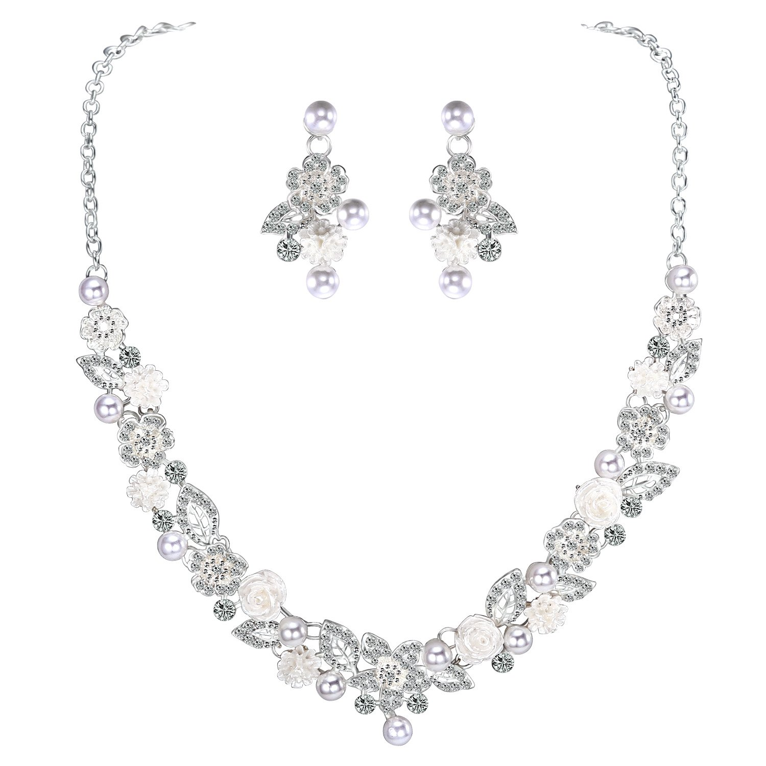 LILIE&WHITE Flower and Imitation Pearl Necklace and Earrings Jewelry Set For Prom