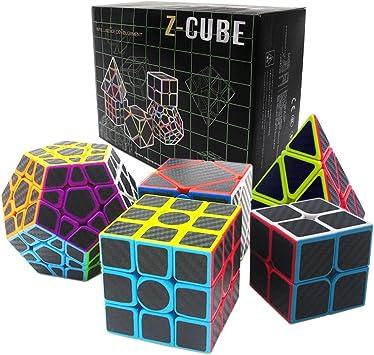 Fibra del Carbón Cubo mágico cajas de regalo Set 2x2x2,3x3x3,Meganminx ,Skewb , Pyraminx Juguete profesional del cubo del rompecabezas (Set02): Amazon.es: Juguetes y juegos