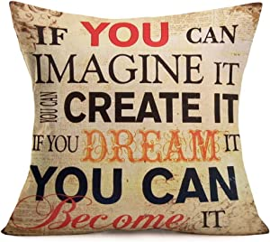 Tlovudori Dream Inspirational Quote Saying Decor Throw Pillow Covers Cotton Linen Vintage Words Square Pillow Case Decor Cushion Cover Home Couch Bed 18