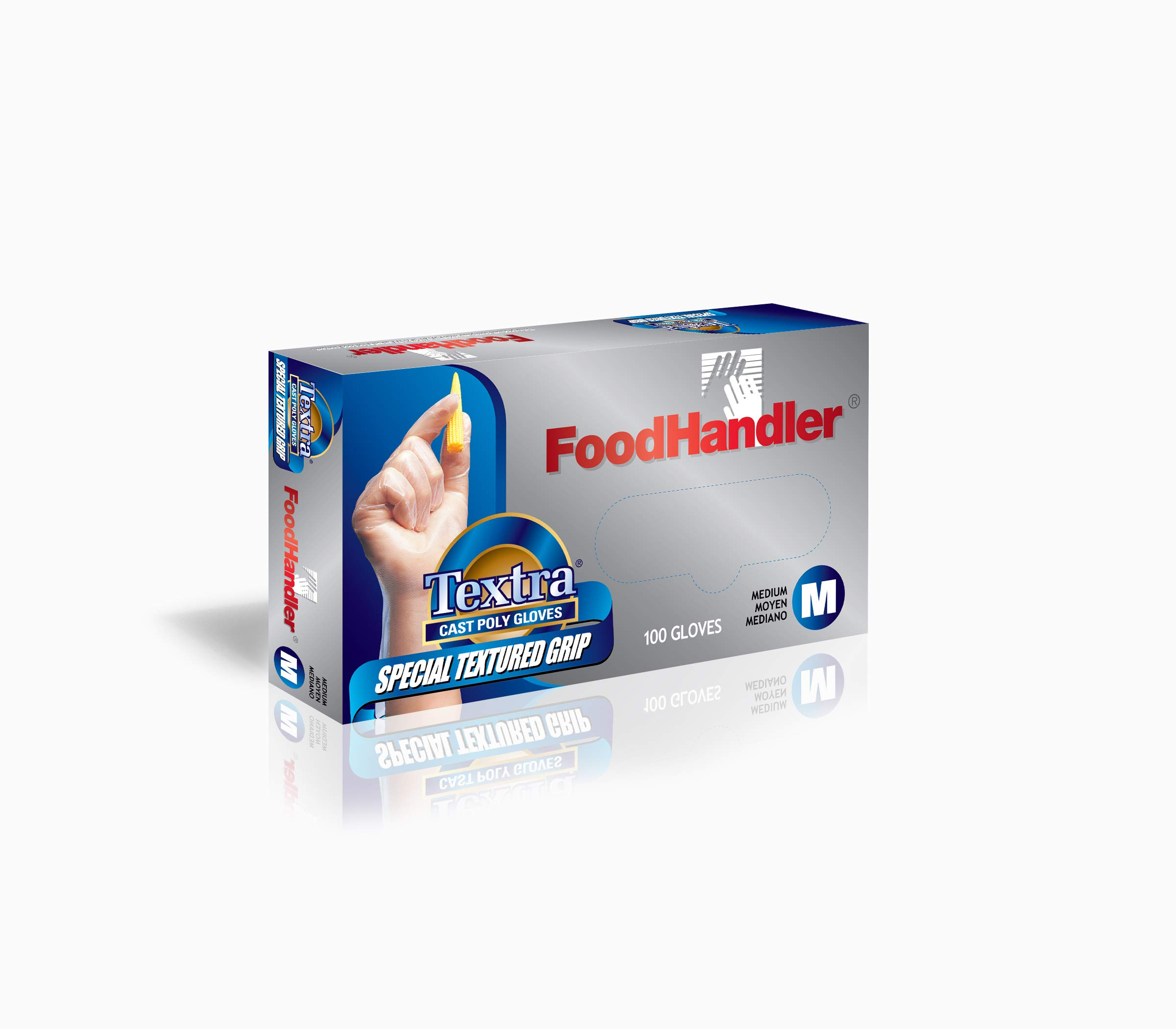 FoodHandler 104-FHCT14 FoodHandler Textra Textured Cast, Poly, MD, Clear (Pack of 1000)