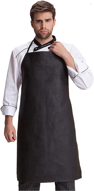 Haosen-six Waterproof Apron Adjustable Neck Strap Bib Kitchen Apron for Adult Cooking Working Dishwashing, Butcher, Fish, Lab,Black One Piece
