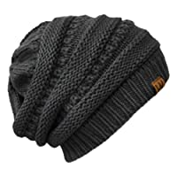 Wrapables punto Slouchy Beanie Beret, Gris oscuro, Una talla