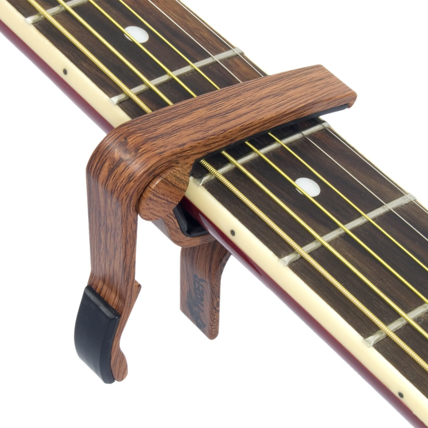 tiger trigger capo with a dark wood finish wooden finish guitar