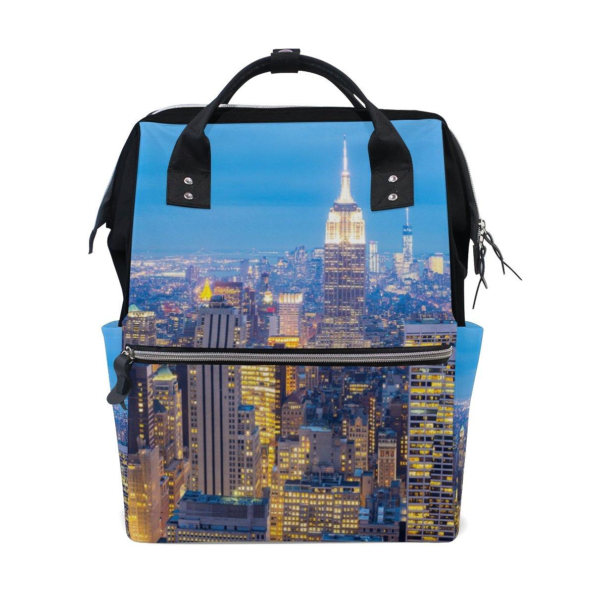 JSTeLノートカレッジバッグ学生旅行ニューヨーク市超高層ビル夕暮れ学校バックパックショルダートートバッグ   B078N6DMHJ