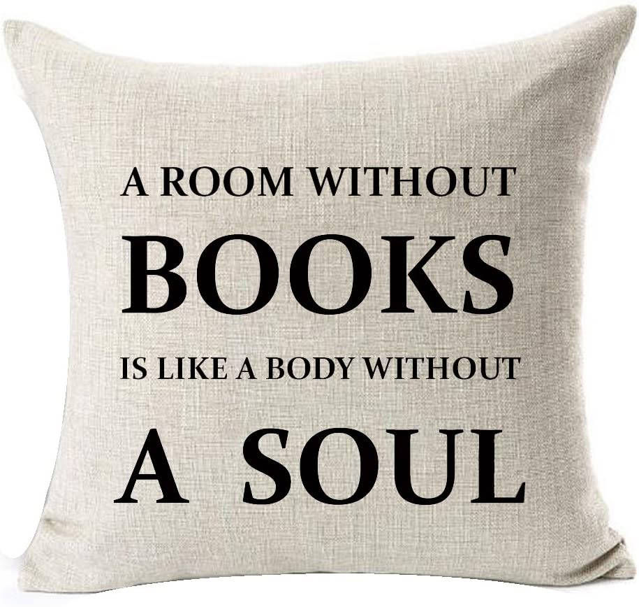 Queen's designer Book Lover Reading Book Club A Room Without Books is Like A Body Without A Soul Cotton Linen Decorative Throw Pillow Case Cushion Cover Square 18