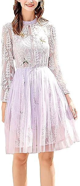 Vestiti Cerimonia Amazon.Vestiti Donna Elegante Festiva Linea Ad A Manica Lunga Rotondo