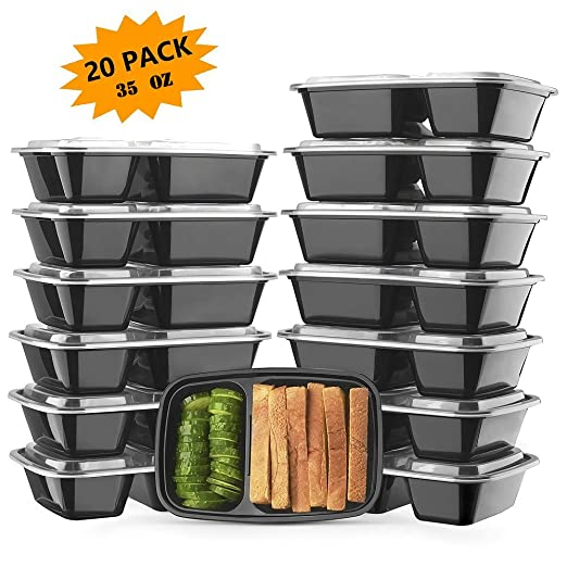 Meal Prep Containers, EPboru Sable 2 Compartment Bento Lunch 35 oz Boxes (20 Pack),Reusable Organization Cases, BPA Free (FDA, SGS & LFGB Certified, Heat and Cold Resistant, Stackable for Storage)