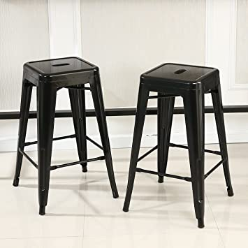 amazoncom belleze 26inch metal counter vintage bar stools set of 6 black home u0026 kitchen