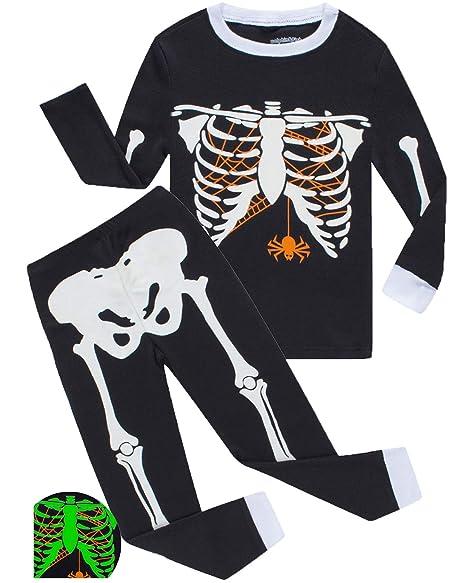 14d5685a7 Boys Pajamas Skeleton Glow in The Dark Halloween Girls Pajamas Toddler Pjs  Kids Sleepwear 2T
