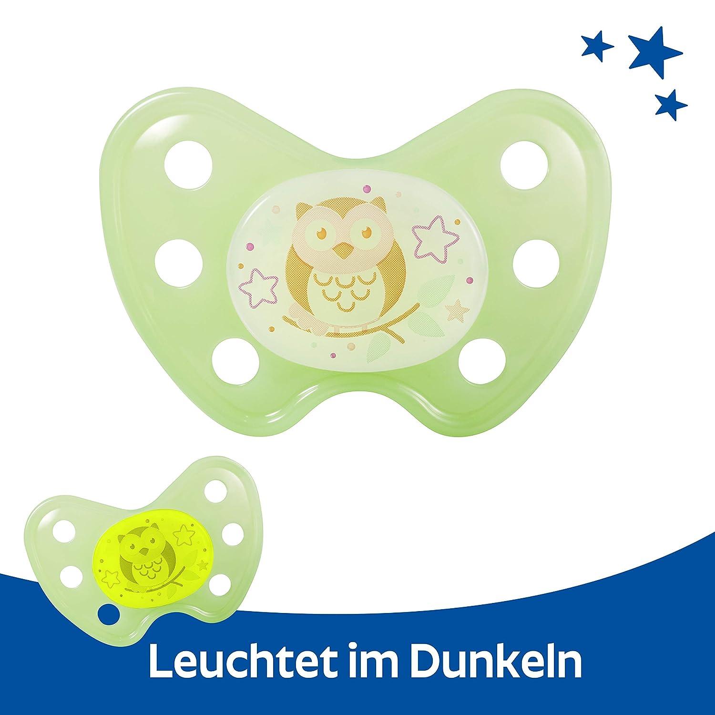 zahnfreundlich ab 14 Monaten Baby Nacht Leuchtschnuller BPA frei Dentistar/® Night Silikon-Schnuller Little Dreamer gruen Gr/ö/ße 3 Nuckel leuchtend im Dunkeln Made in Germany
