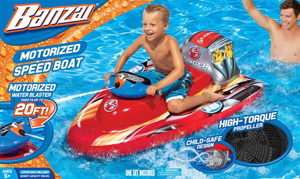 Banzai Motorized Wave Cruiser Pool Rider Speed Boat For