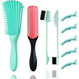 Detangling Brush Set + 9-Row Cushion Nylon Bristle Shampoo Brush with 2 different Edge Brush Double Sided + 5 Hair Clips…