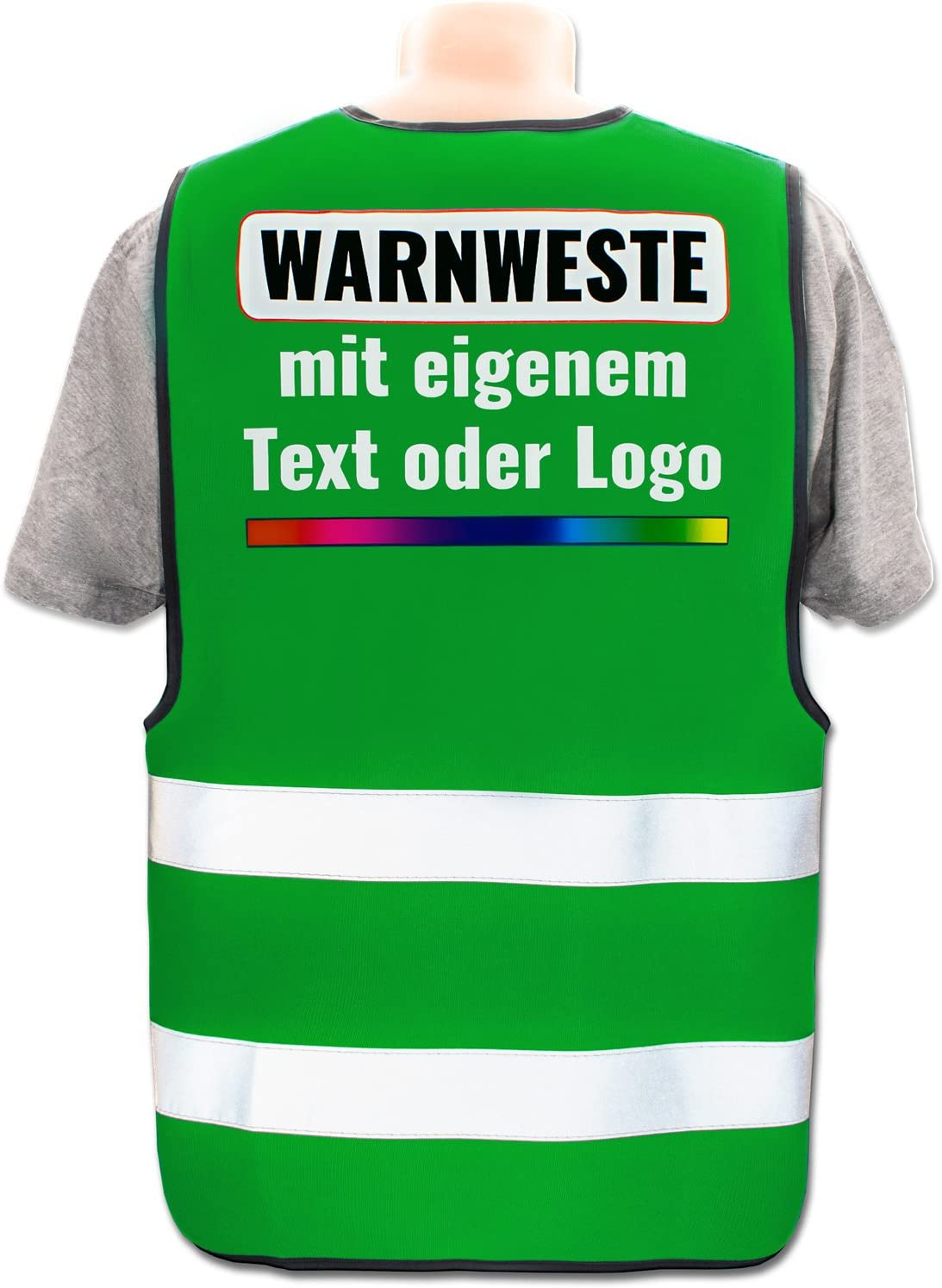 Farbe /& Gr/ö/ße:Rot//Gr/ö/ße S Bedruckt mit Name Text Bild Logo Firma Position /& Druckart:R/ücken//Standard-Druck Warnweste mit eigenem Aufdruck selbst gestalten