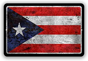 """Puerto Rico Country Flag Man Cave Metal Decor Tin Sign Indoor and Outdoor use 8""""x12"""" or 12""""x18"""""""