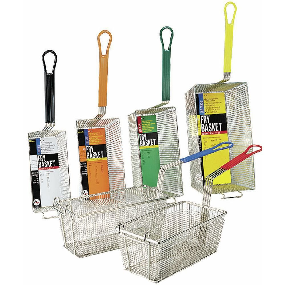 Adcraft FBR-16834 17'' Length x 8-1/4'' Width x 6'' Depth, Fryer Basket with Yellow Handle