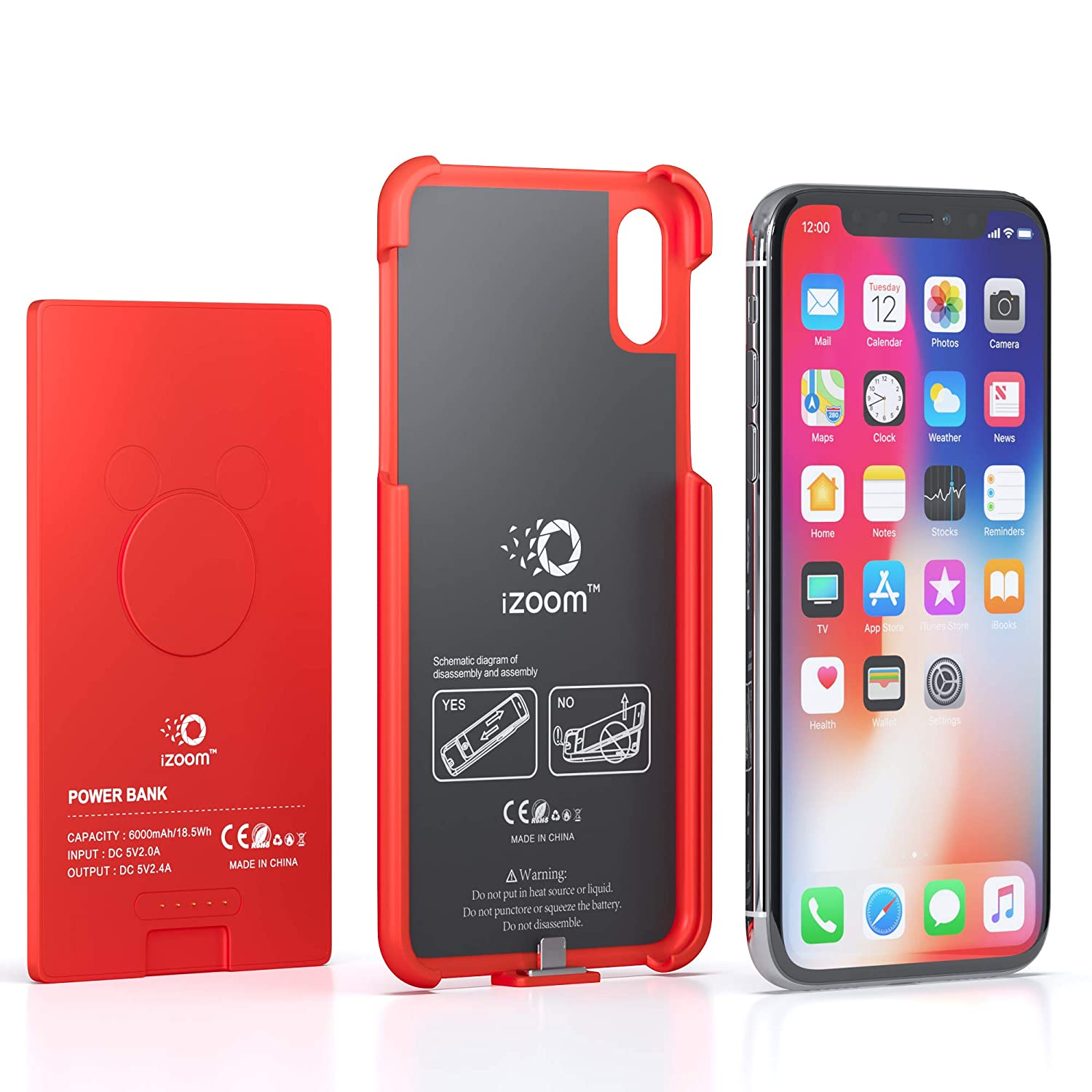 amazon com iphone x compatible battery charger case red cell rh amazon com