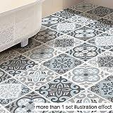 CaseFan 3D Floor Wall Sticker for Bathroom & Kitchen Antislip Decoration Removable Mural Decals Vinyl Art 39.37x39.37 Mediterranean Blue