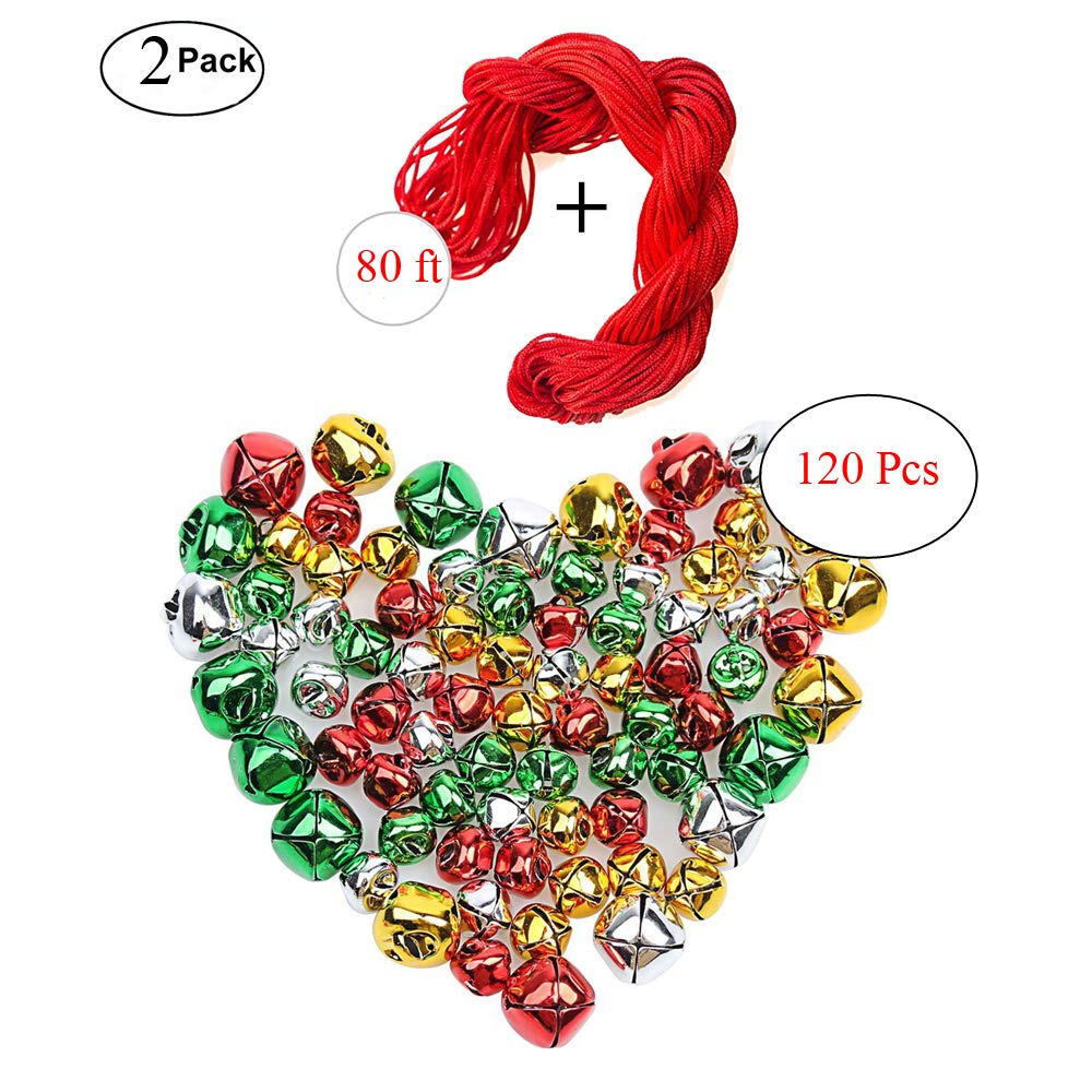 MISS FANTASY Christmas Jingle Bells for Crafts Xmas DIY Set with String in Assorted Size Include 120 Pcs