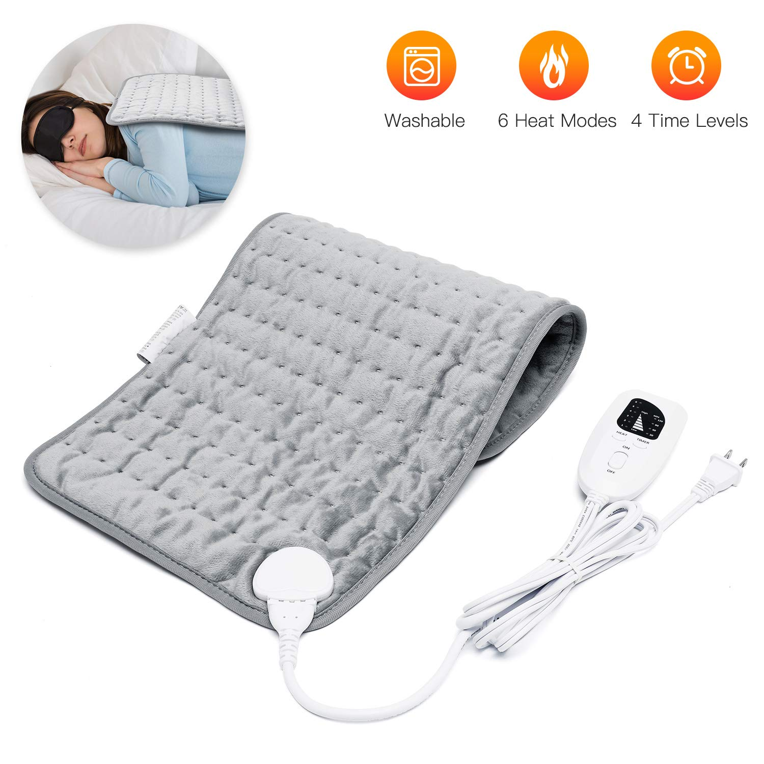 "Heating Pad 12""x24"" 6 Temperature Settings Merkmak Electric Heating Pad for Back, Neck, Shoulders, Abdomen, Arm, Legs Machine Washable"