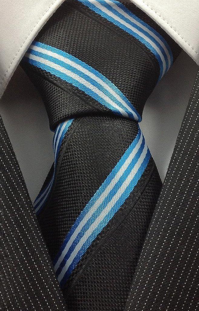Negro con eléctrico Corbata de Rayas de color azul y blanco ...