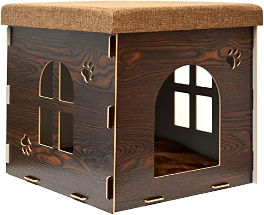 EYEPOWER Caseta para Perro Gato 46x46x46cm Cama Talla Grande L ...