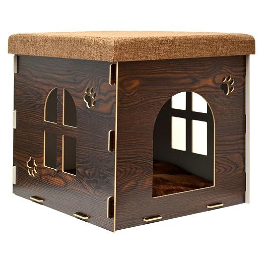 EYEPOWER Caseta para Perro Gato 46x46x46cm Cama Talla Grande L Caja Cuadrada para Mascota con Tapa Acolchada para Sentarse puf escabel Marrón