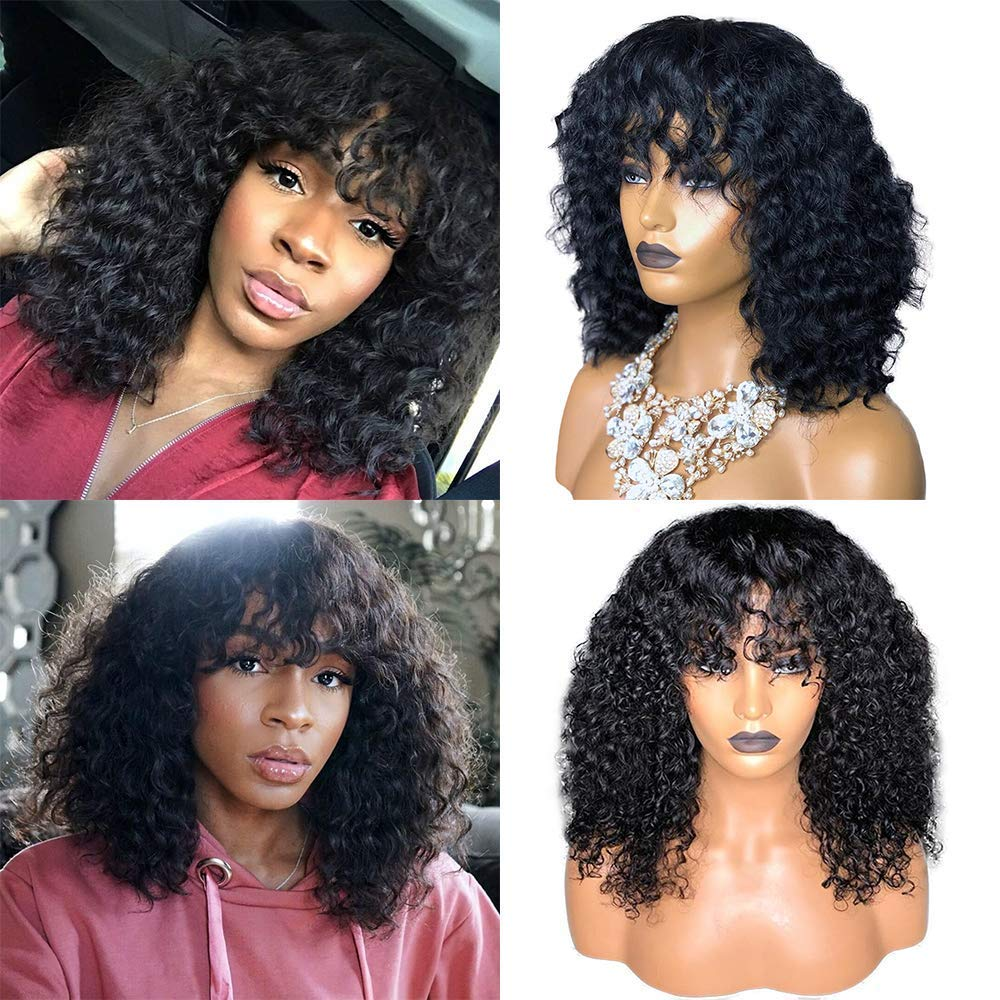 Amazon Com Curly Wave Human Hair Wigs With Bangs Brazilian Virgin Water Wavy Human Hair Wigs None Lace Front Glueless 150 Density Machine Made Wigs For Black Women Natural Color 10 Inch Beauty