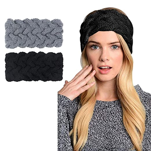 2e9f950c2e6 Image Unavailable. Image not available for. Color  Womens Winter Knitted  Headband - Crochet Twist Hair Band Turban Headwrap Hat Cap ...