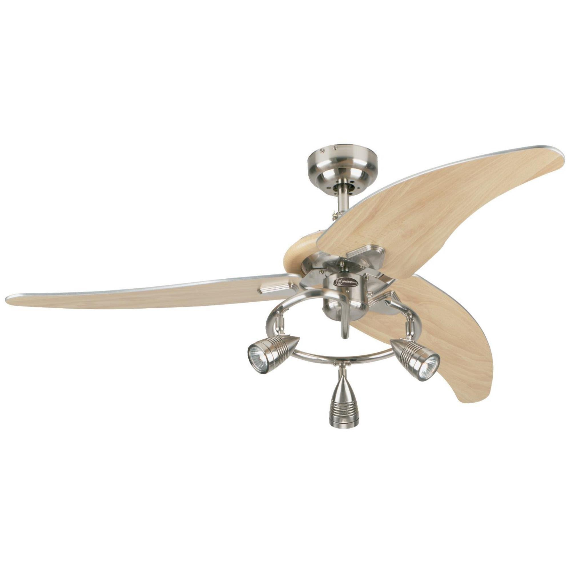 7850500 Elite 48-Inch Brushed Nickel Indoor Ceiling Fan, Light Kit with Three Spotlights by Westinghouse