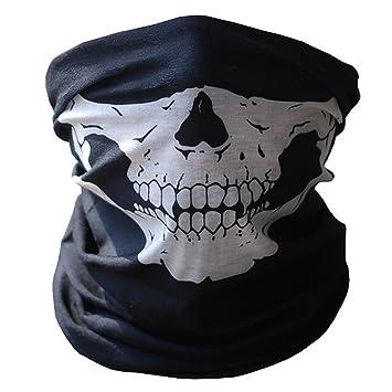 Skull Tubular Protective Dust Mask Bandana Motorcycle Polyester ...