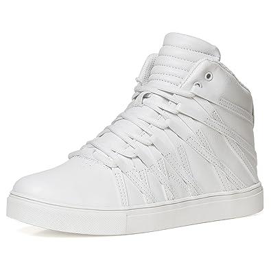 D Aquino Herren Sneaker Schuhe Sport High Top Streifen Weiß Rot Schwarz  C19043M, Farbe e32eec4d43